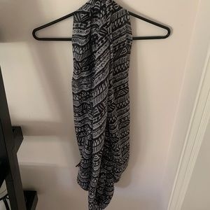 Black and white printed infinity scarf